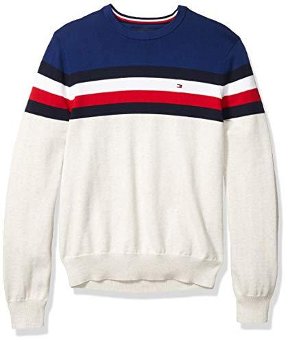 Tommy Hilfiger Men's Stripe Crewneck Sweater, Bright White Heather/Blue Depths, LG