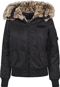 Urban Classics Ladies Imitation Fur Bomber Jacket Chaqueta, Negro (Black 7), S para Mujer