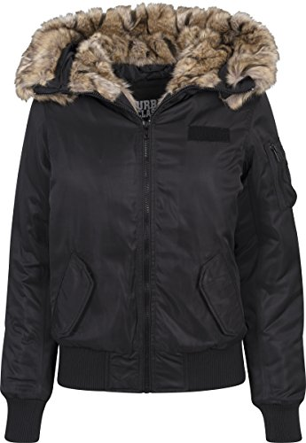 Urban Classics Damen Ladies Imitation Fur Jacket Bomber Jacke, Schwarz (Black 7), Large