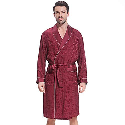 LZJDS Men's Sleepwear Nightgown Silk Pyjamas Men's European And American Long-Sleeved Silk Robe Fashion Men's Home Service Bathrobe,sauce purple,XXL