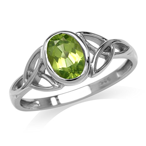 Silvershake Natural Peridot White Gold Plated 925 Sterling Silver Triquetra Celtic Knot Ring Size 6