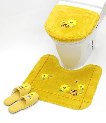 となりのトトロ 花のバス停 洗浄便座ふたカバー トイレマット スリッパ 3点セット