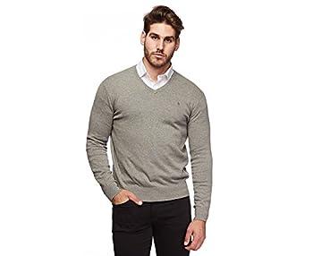 Polo Ralph Lauren Mens Pima Cotton V Neck Sweater   L  Grey  Silver Pony