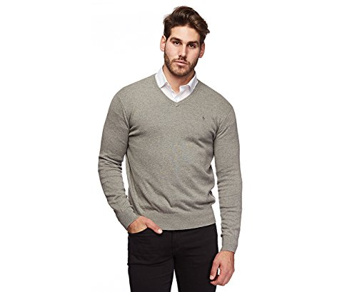 Polo Ralph Lauren Mens Pima Cotton V Neck Sweater ( L), Grey (Silver Pony)