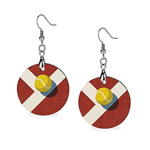 Modische Sommer-Ohrringe aus Holz, Tropfenform, leicht, runde Kreise, Ohrringe für Damen und Mädchen, Bälle für Tennisbälle und Tonplätze