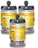 Les5CAVES - Pack 3 fûts Pelforth - Fût de bière blonde - Compatible Beertender - Lot de 3 fûts x 5L