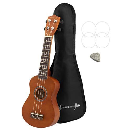 World Rhythm WR-302 - Ukelele soprano para principiantes, acabado natural con bolsa de concierto, cuerdas de repuesto para ukelele y púa de fieltro