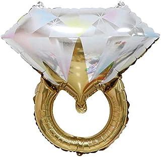 Moligh doll 10Pcs Diamond Ring Shaped Aluminum Balloons Wedding Party Wedding Room Decoration Color Balloons Gold