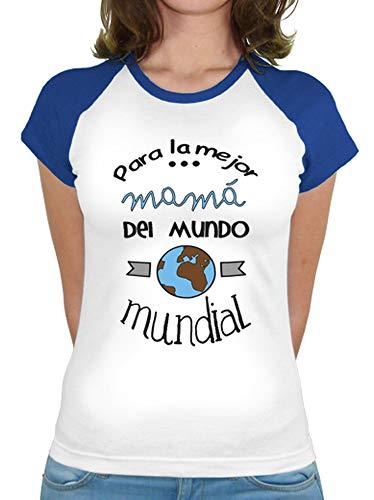 latostadora Camiseta para la Mejor mamá del Mundo Mundial - Camiseta Mujer, Estilo béisbol Azul Royal Talla L