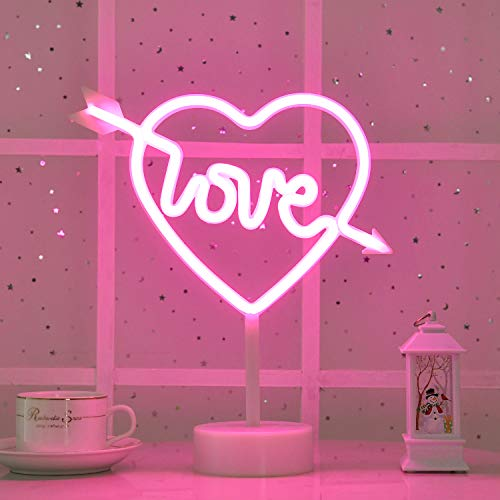 Byncceh Pink Cupid Heart-Shaped neon Lights-neon Lights with Love Detachable Base, USB or Battery Operation, Love in The Heart neon Lights, Wedding Christmas Room Decoration, Valentine's Day Gifts