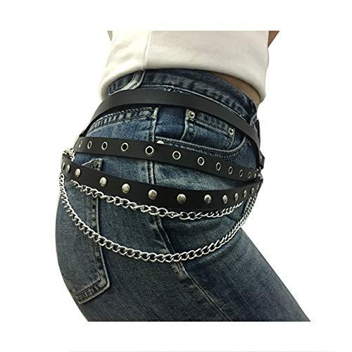 Zonfer Cadenas Cuerpo De La Cintura De Las Mujeres Cadena De La Cintura del Arnés Liga Cinturón con Hebilla Punky Gótico para La Señora