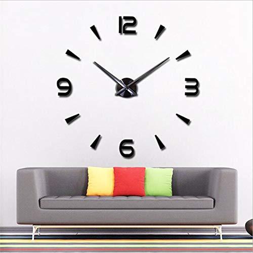 Sygjal DIY Espejo de acrílico Reloj de Pared Grande Modernos del Cuarzo del diseño 3D Pegatinas Relojes del Reloj for casa Decorativa Reloj de Pared (Color : Negro, Sheet Size : 35inch)