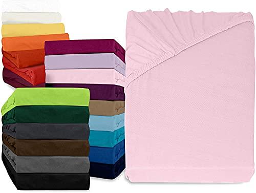 Comfy Wings Jersey spannbettlaken 90x200cm Weiches Spannbetttuch aus 100% Baumwolle Bettlaken mit 25 cm steghöhe Topper bettwaren & bettwã¤sche spannleintuch (Rosa)