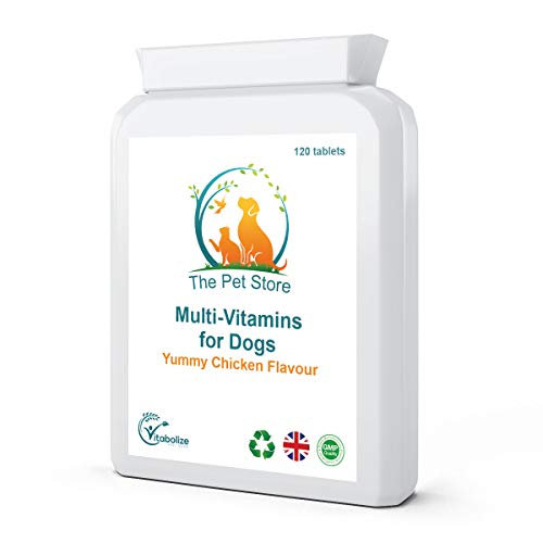 Vitabolize The Pet Store Multivitamins for Dogs | 120 Tablets | Chicken Flavour | Essential Vitamins & Minerals for Dogs Vitamins A, B, C D3, E, K1 and more