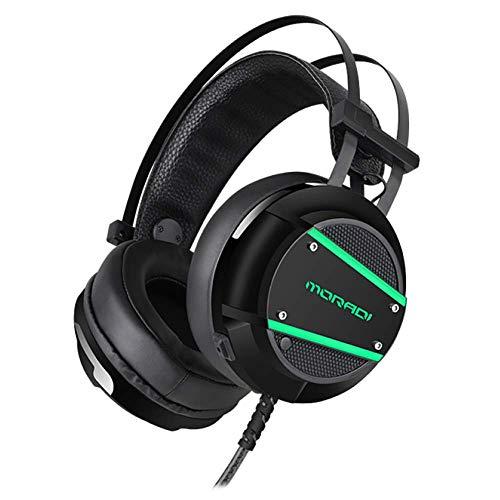 DWXN E-Sport Headset USB 7.1-kanaals gaming koptelefoon met LED-licht en noise-cancelling microfoon kort