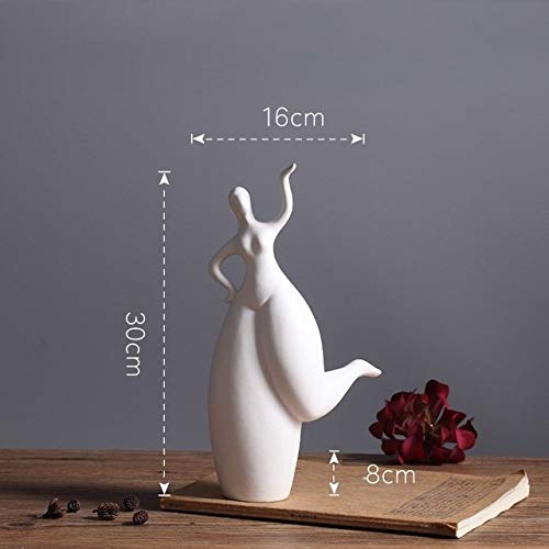 A/N Estatua Bailarina Creativa de cerámica Niñas Lady Estatua Decoración del hogar Artesanías Decoración de la habitación Adorno de Belleza Gorda Porcelana Figurita Regalos, Gris Oscuro