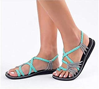 Women's Flat Sandals Large Size Women's Sandals Rope Knot Summer Beach Toe Sandals Women's Shoes