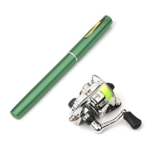RYDQH Carrete de caña de Pescar Plegable de Bolsillo de 1 M / 1,4 M, Mini bolígrafo, Kit de caña de Pescar, caña de Pescar en Forma de bolígrafo de 7 Colores (Color : Green, Size : 1.4m)