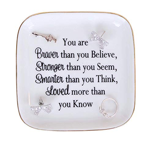 "Daughter gift from Mom ""You are Braver Than You Believe,Stronger Than You Seem,Smarter Than You Think"" Ring Dish for Daughter Gifts, Birthday Gift for Daughter,Mother"