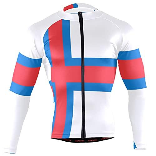 Magnesis Faroe Islands Flag Herren Radtrikot Langarm Fahrradjacke Radtrikot Shirt Gr. 3XL, multi