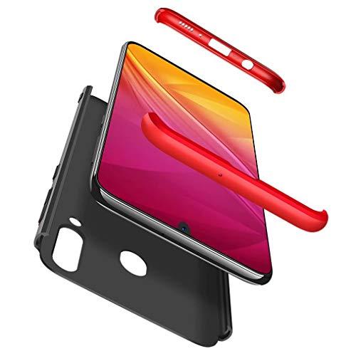 FHXD Hoesje voor Samsung Galaxy M30/A40S Schokbestendige 360° Beschermhoes [Screen Protector] Mat Ultradunne PC Harde Schaal Telefoonhoes Krasbestendig 3 in 1 Cover Case-Rood Zwart