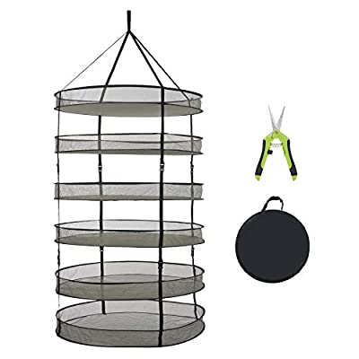 TERRADISE Herb Drying Rack, 3ft 6 Layer Plant Drying Rack Net, Collapsible Hanging Mesh Dryer Net w/Garden Pruning Shears, Folding Drying Rack for Herbs Weed Seeds Buds Hydroponic Plants Mushrooms