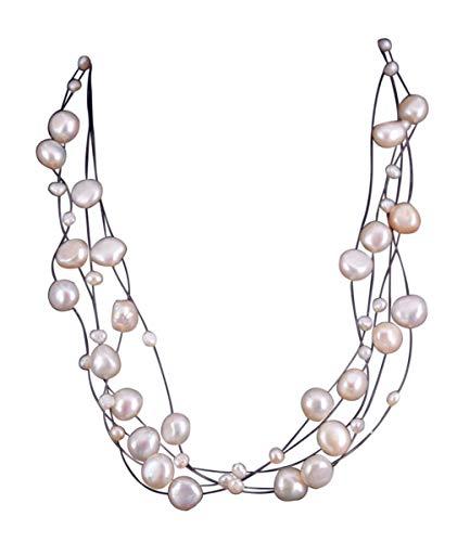 NicoWerk Damen Perlenkette Barockperle 3 8mm aus 925 Sterling Silber Weiß Hochzeit Brautschmuck Mehrreihig Echte Perlen Zuchtperlen Collier PKE121