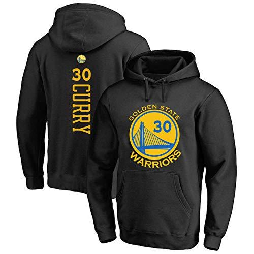 YB-DD Curry # 30 Männer Basketball Jersey - Golden State Warriors Swingman Trikots Langarm-Kapuzen SweaterT Hemd (Größe: S-3XL),Schwarz,S(160cm~165cm)