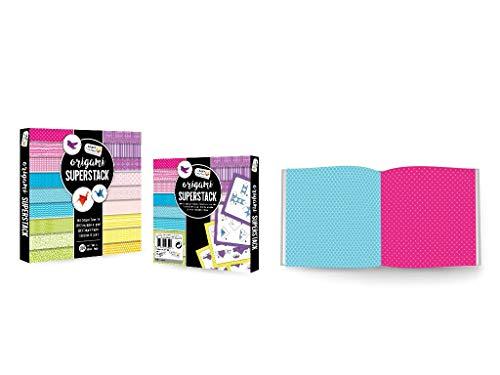 CraftSensations Juego de manualidades de papel para origami de 15 x 15 cm, 180 hojas de doble cara, 18 diseños únicos, incluye instrucciones completas de origami con numerosas formas de origami