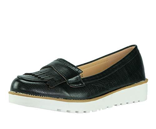 CAPRIUM Moderne Schuhe Espadrilles Sandalen Mokassin Fransen Halbschuhe, Damen 000M2001 (36, Schwarz M2002)