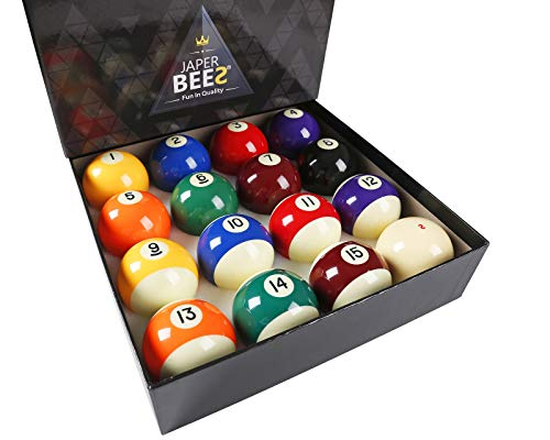 JaperBees Premium Professional Pool Table Billiard Ball Set, Regulation Size Resin Ball...
