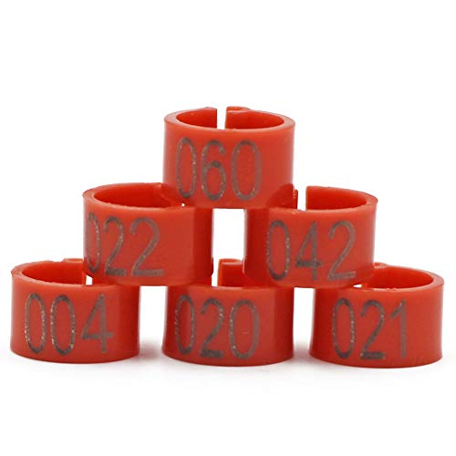 MACGOAL Numbered Pigeon Leg Bands Poultry Leg Rings for Birds Chicken Quail Dove Pigeon Foot Rings 001 to 100 (Orange-red)