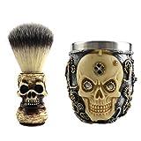 PIXNOR Set de Afeitado Húmedo para Hombre Cepillo de Barba de Cerdas Patrón de Cabeza de Cráneo Taza de Jabón Tazón de Afeitar para Hombres Cuidado Facial