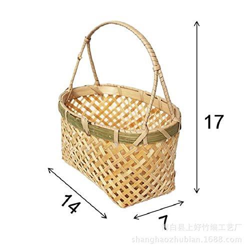 Yanxinenjoy Handgemachte Bambuskörbe, Bambusprodukte, Blumenarrangements, handgemachte Dekorationen, Länge 14 Breite 7 Korbhöhe 17