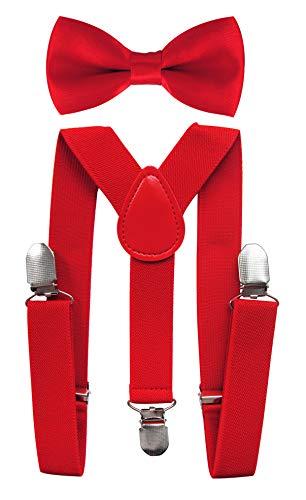 axy® Hochwertige Kinder Hosenträger-Y Form mit Fliege- 3 Clips EXTRA STARK-Uni Farben (Rot)