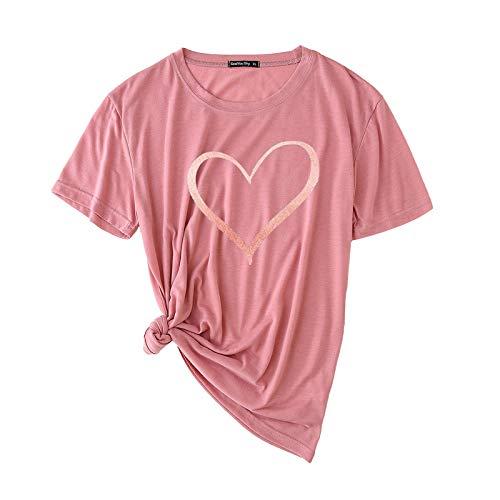ZouYiL - Camiseta para mujer, cuello redondo, manga corta, básica, para verano, moderna, informal, suelta, cómoda B Rose Gold L