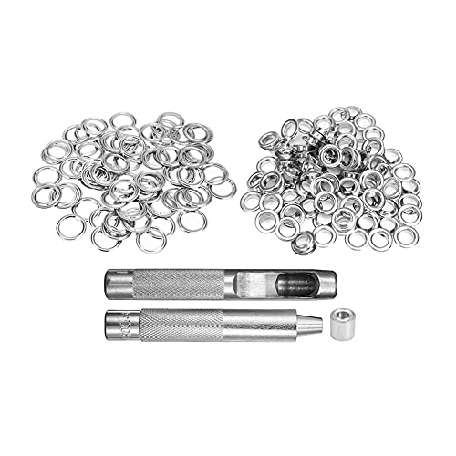 Ojales Kit,Herramientas De Ojetes 100pcs Eyelets de metal Set de 10 mm Juego de anillos de ojales metálicos con varillas de punción de montaje para bricolaje Craft Craft Ropa Suministros de costura