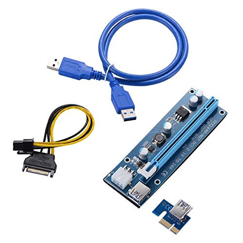 Occus - Cables Riser Miner PCIE Express VER 006C PCI-E 1X to 16X USB3.0 Cable SATA 15 Pin 6 Pin Power Supply Cable Graphics Card Adapter 30pcs - (Cable Length: USB 3.0, Color: PCI-E 1x to 16x)