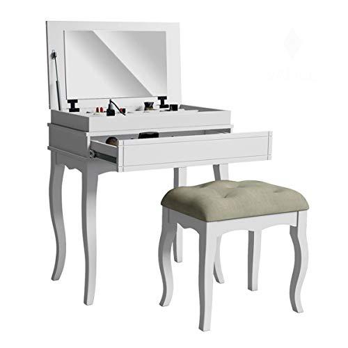 Penteadeira De Maquiagem Com Espelho, Gaveta + Banco - Libriane