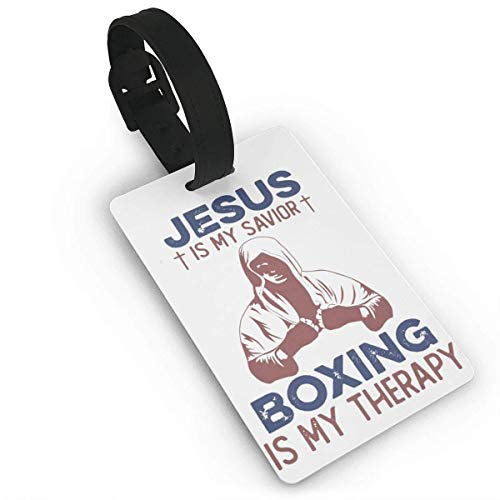 Jesus is My Savior Boxing is My Therapy Lage Tag Unique Travel Bags Tags Id Labels for Baggage Suitcases Bags