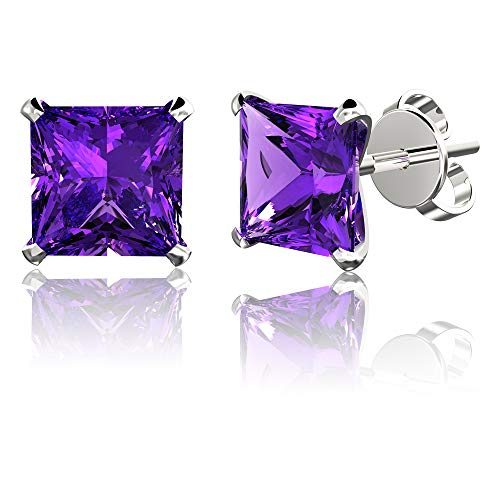 .925 Sterling Silver Hypoallergenic Amethyst Cubic Zirconia Princess-Cut Stud Earrings, 7mm