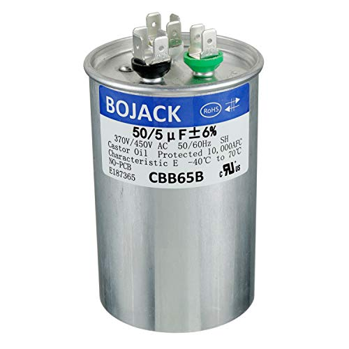 BOJACK 50+5uF 50/5MFD ±5% 370V/440V CBB65 Dual Run Circular Start Capacitor for AC Motor Run or Fan Start or Condenser Straight