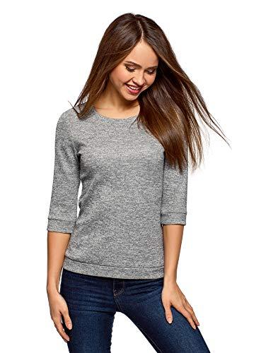 oodji Ultra Damen Sweatshirt mit Rundhalsausschnitt, 3/4-Arm und Lurex, Grau, DE 34 / EU 36 / XS