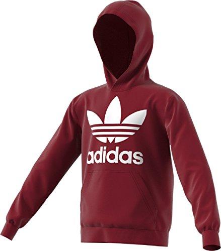 adidas Originals Kids Unisex Trefoil Hoodie (Little Kids/Big Kids) Collegiate Burgundy/White Large