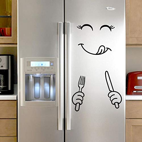 Mamum - Mignon Autocollant Réfrigérateur Heureux Délicieux Visage Cuisine Frigo Stickers Muraux Art (A)