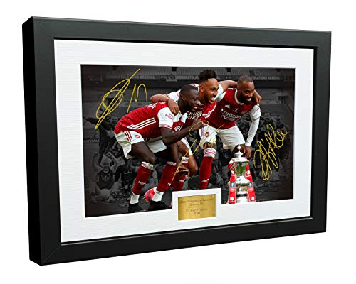 """12x8 A4 Signed""""2020 FA CUP WINNERS"""" Alexandre Lacazette Pierre-Emerick Aubameyang Pepe Arsenal FC Autographed Photo Photograph Picture Frame Football Soccer Poster Gift"""
