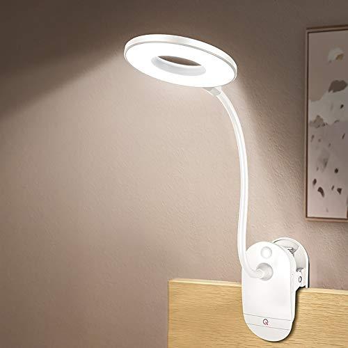 Z·Bling LED Klemmleuchte, leselampe Klemmen Bett mit 3 Helligkeitsstufen, 360° flexibel Schwanenhals, 18 LED USB aufladbare leselampe augenschutz zum Studieren und Arbeiten
