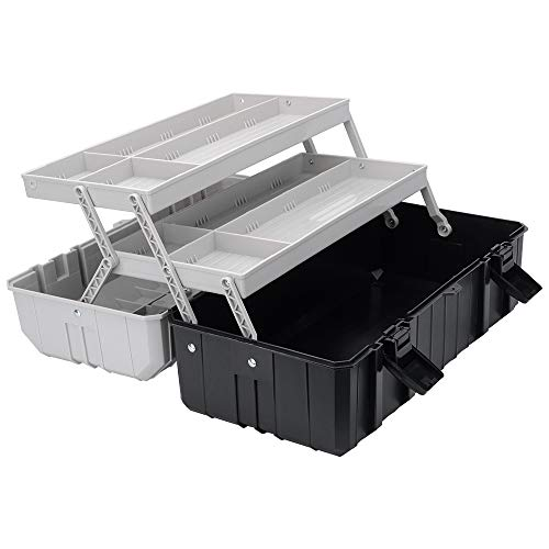 3Layer Tool Box 17Inch Folding Toolbox with Tray Black and Grey