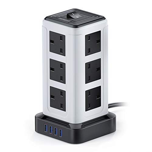 Extension Lead Tower, dodocool Power Strip Surge Protector, 3250W/13A with 12 Way Outlets 4 USB Ports(3.1A), 10Ft/3M, Overload Protection, Plug Extension for Home, Office, Garage, Travel