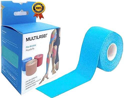 Rolo Fita Kinésio 5 x 500 Cm Tape Bandagem Elástica Funcional Adesiva Azul Musculação Esporte Hipoalergênica Melhora Circulação Evita Lesões Resistente A Água Muscle Fix Multilaser